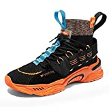 YOHI Men's High Top Shoes Breathable Lightweight Casual Walking Shoes Athletic Running Fashion Sneakers Orange Size 9