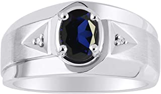 Classic 2 Diamond and Oval Blue Sapphire Ring Set in Sterling Silver .925