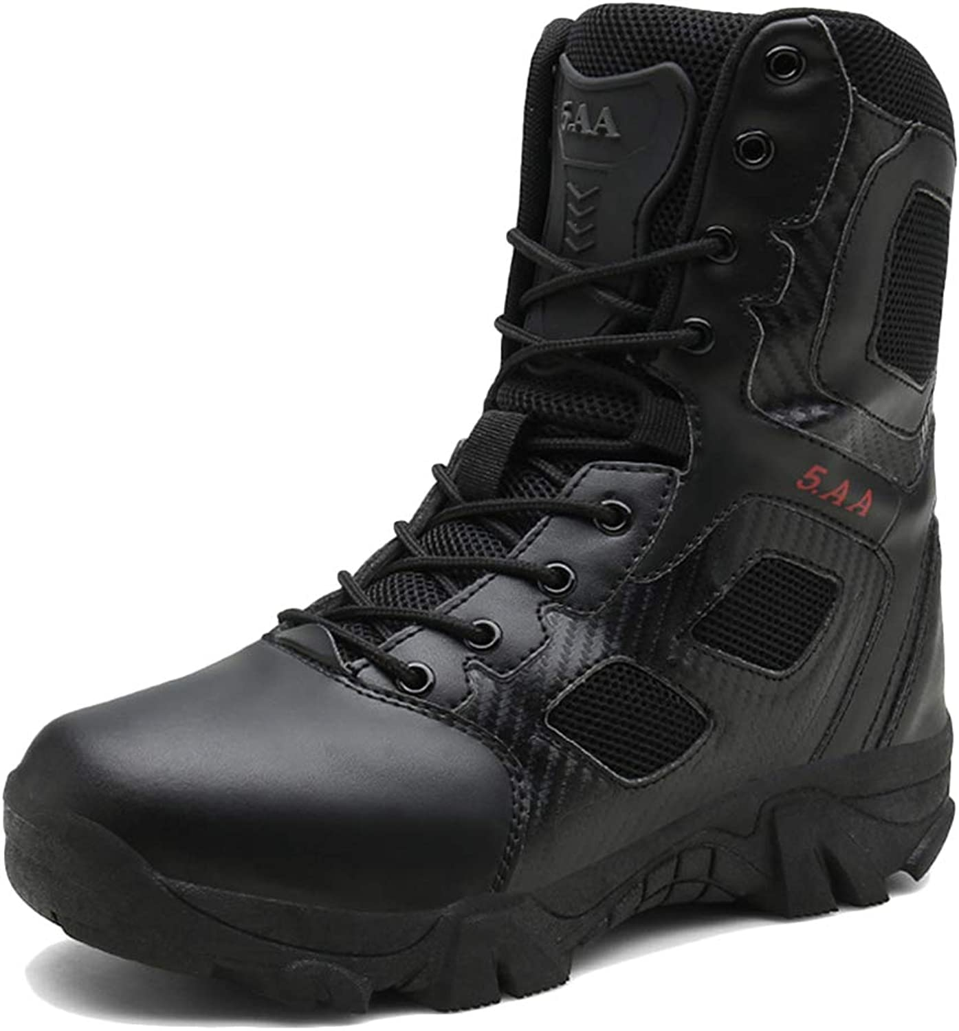 LIUYL men's military hiking boots Desert Combat Special Forces Boot Side Zip tactical boots Trekking Sports Outdoor shoes,Black-46