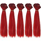 5pcs/lot 15cmx100cm Long Straight Fire Red Heat Resistant Hair Pieces for Making BJD Blythe Pullip Doll's Wig