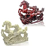 Feng Shui 2 White Running Horses for Feng Shui and Vastu Placements Feng Shui Remedy for Rapid Growth and movement of blocked work In Feng Shui Horses are a symbol of Confidence, Control and Vitality It Can be placed In South Sector of your home / of...