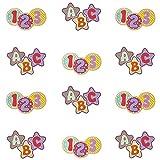 Oblique Unique® ABC 123 Konfetti 12 Stk. Schuleinführung Einschulung Schulanfang Tisch Dekoration Streu Deko Kreis Stern Form Jungen Mädchen