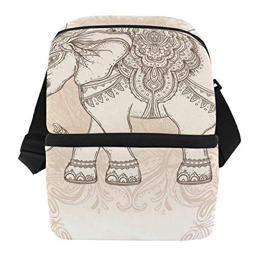 Bennigiry - Bolsa térmica de doble capa con diseño de mandala étnico y elefante para el almuerzo o la escuela, para uso diario o al aire libre