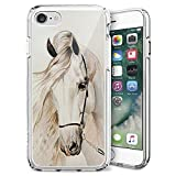 Case for iPhone 7 8 White Horse,ChyFS Phone Clear Case,Crystal Protective Case