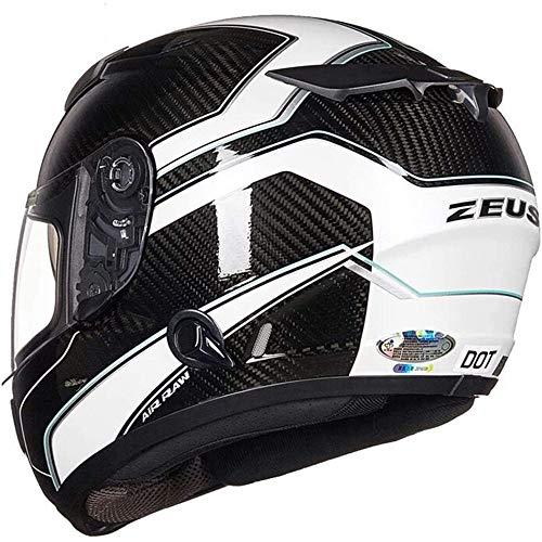 ZHXH Casco de motocicleta Fibra de carbono, Casco de cara completa modular de lente doble todoterreno para adultos, en línea con la certificación de puntos/estándar de ece
