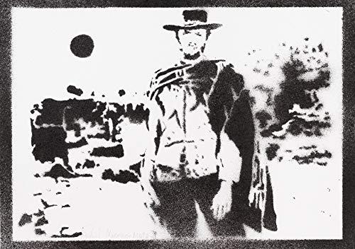 Poster Clint Eastwood Western Grafiti Hecho a Mano - Handmade Street Art - Artwork