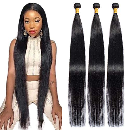 Maxine Hair 10A Brazilian Virgin Straight Hair 3 Bundles 100% Unprocessed Long inch Human Hair Weave Extensions Natural Color Can Be Dyed and Bleached (30''&30''&30'')
