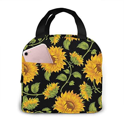 Bolsa de almuerzo con girasoles para mujeres,niñas,niños,bolsa de picnic aislada,bolsa gourmet,bolsa cálida para el trabajo escolar,oficina,camping,viajes,pesca