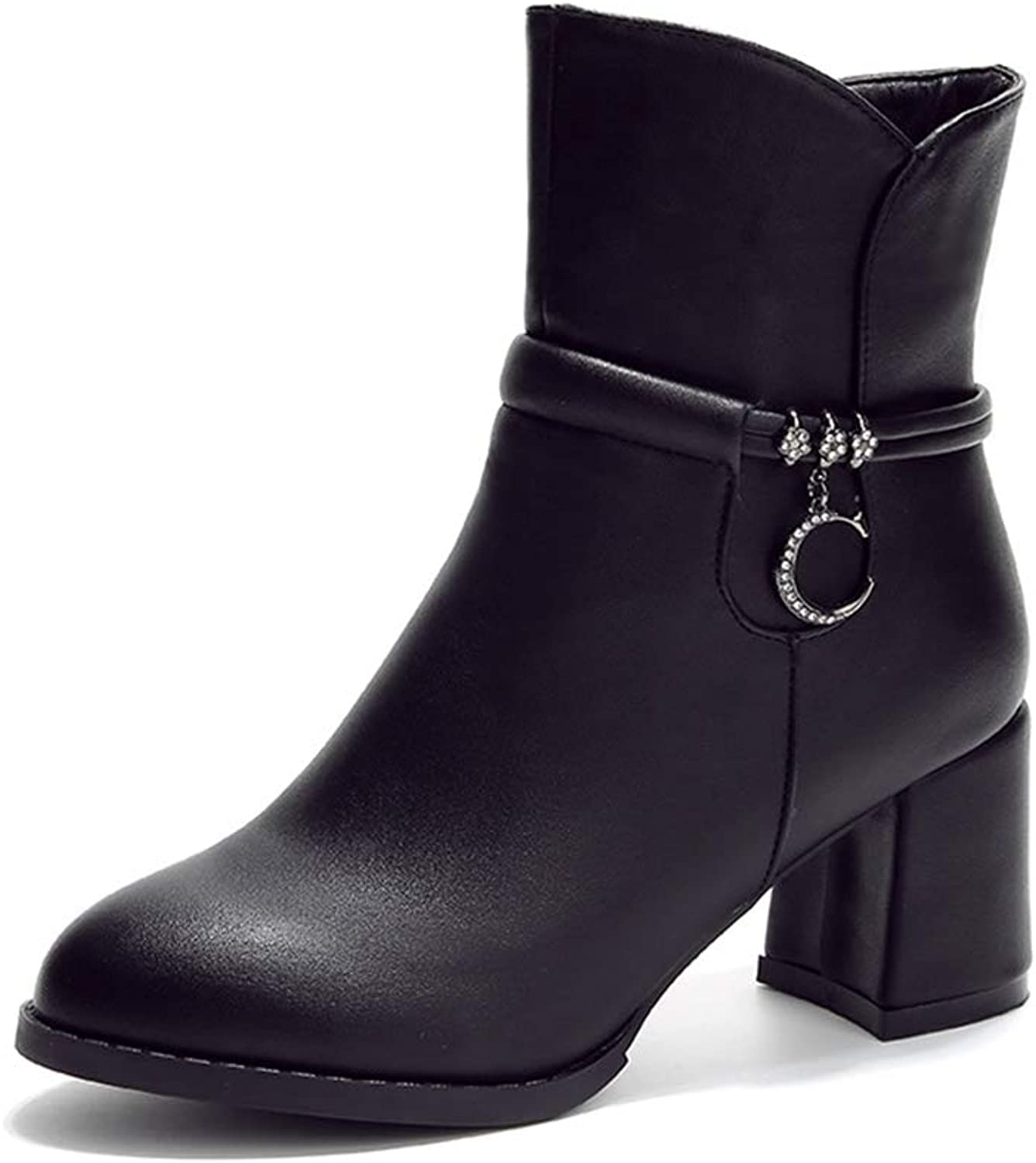 Lady's Ankle Boots, Autumn Winter Rough High Heels Comfortable Martin Boots Winter Warm Non-Slip Women's Boots (color   Black, Size   38)