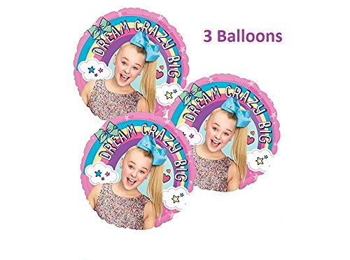 JoJo Siwa Birthday Balloons - 3 Pack Of JoJo Siwa Mylar Birthday Party Balloons