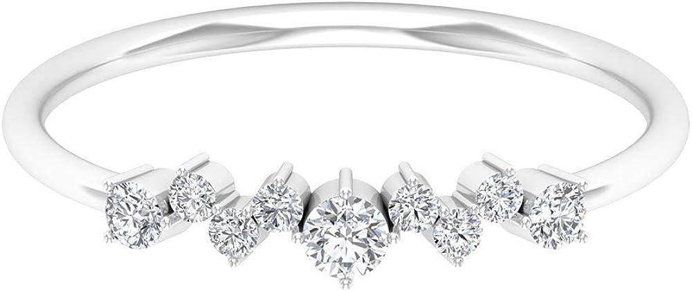 2021 Brand new model 1 2Ct Solitaire Diamond Ring Sidestone Wedd Zigzag Modern
