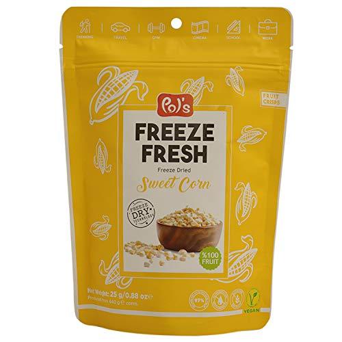 POL'S - 25 gr. Gefriergetrockneter Mais, getrockneter frischer Mais, glutenfrei, ohne Zucker, vegan, ohne Zusatzstoff, Dried Fruit Corn
