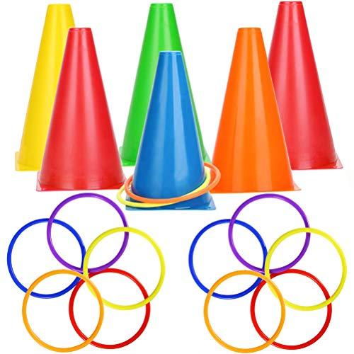 WENTS 3-in-1 Ensemble de Jeu de Lancer d'anneau Sport Party Spiele Set pour Intérieur en Plein Air Famille Jeu Jardin Jeu Sports Day Jeux Fournitures