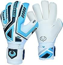 Renegade GK Fury Sub-Z Goalie Gloves with Pro-Tek Finger Protection | 4mm Giga Grip & 4mm Duratek | White, Blue, Silver, Black Soccer Goalkeeper Gloves (Size 11, Adult, Roll Cut, Level 4)
