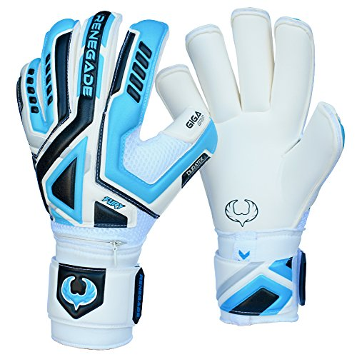 Renegade GK Fury Sub-Z Goalie Gloves with Pro-Tek Finger Protection | 4mm Giga Grip & 4mm Duratek | White, Blue, Silver, Black Soccer Goalkeeper Gloves (Size 11, Adult, Roll Cut, Level 4)
