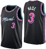 Wo nice Maillots de baloncesto para hombre, Miami Heat # 3 Dwyane Tyrone Wade uniformes de baloncesto para deportes, camisetas sin mangas, negro, XXL (185 ~ 190 cm)
