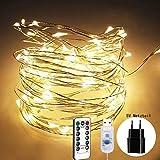 Mochatopia WarmWeiß LED Lichterkette Dimmbar'Silber Draht', 10M 100 LEDs Star Lichterketten Wasserdichte IPX6 mit 5V Nezteil USB Powered für...