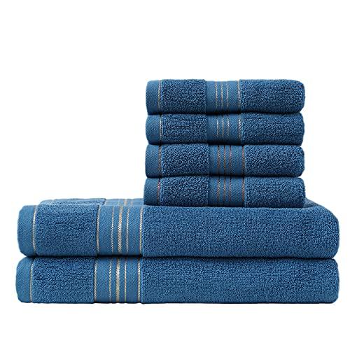 ASG Badetücher Set-2 Badetücher & 4 Handtücher,100% Baumwolle,Fade Resistant (Blau)