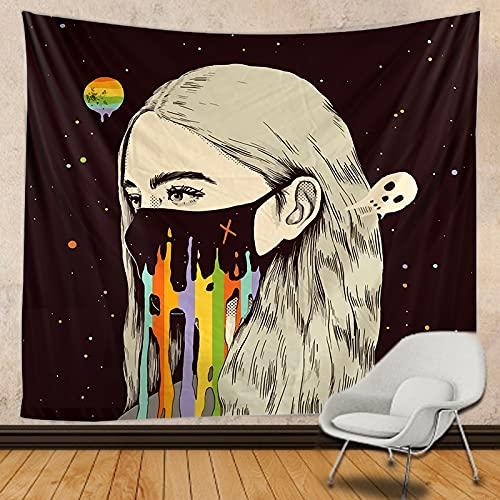 Astronauta y arcoíris tapiz mandala brujería hippie tapiz de encaje estilo boho tapiz decorativo para colgar en la pared A5 130x150cm