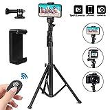 PEYOU Perche Selfie Trépied,155cm/61'' Extensible 360°Selfie Stick Monopode avec Amovible Télécommande Bluetooth et Adaptateur GoPro pour iPhone 6 7 8 X XR XS Max,Galaxy S10 S9,Gopro,Appareils Photo