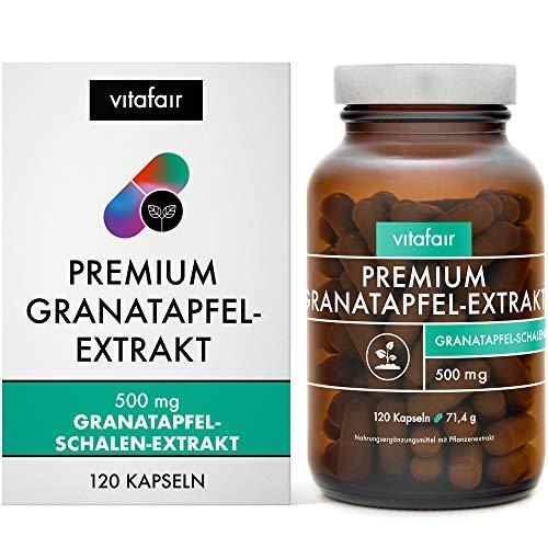 Granatapfel Extrakt - 1000mg pro Tagesdosis - 120 Kapseln - 40% Ellagsäure = 400mg - Hochdosiert - Aus Granatapfel-Schalen - Vegan - Ohne Magnesiumstearat - German Quality