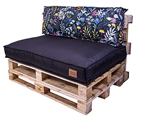 Juego de cojines de asiento de palé de 120 x 80 x 15 cm y cojín de respaldo de 120 x 40 x 15 cm, granulado pradero
