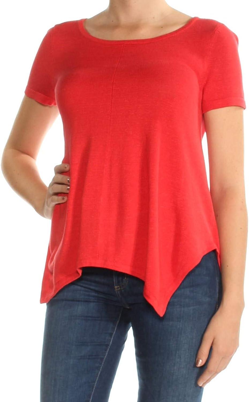 Ralph Lauren Womens Red Short Sleeve Jewel Neck Top US Size  M