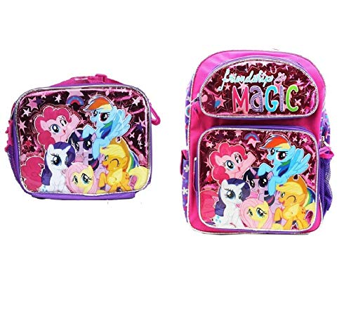 My Little Pony 16 School Backpack Lunch Bag 2pc Girls Bag Set -Friends Forever