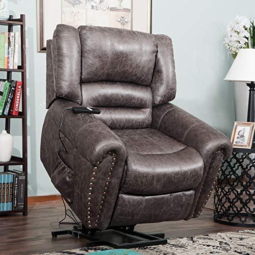 Zebery TREXM Smoky Brown Wilshire Series Heavy-Duty Power Lift Recliner Chair(Smoky Brown)