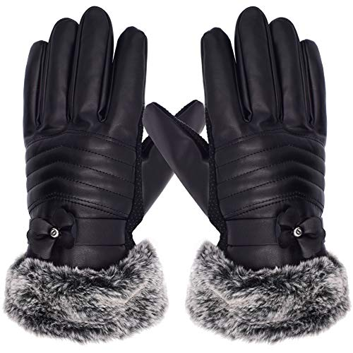 WENTS Damen Touchscreen Lederhandschuhe Winter Handschuhe Elegant Leder Handschuhe Warme Kaschmirfutter Bow rutschfest Wasserdicht Eine Größe Casual Outdoor Sports Handschuhe