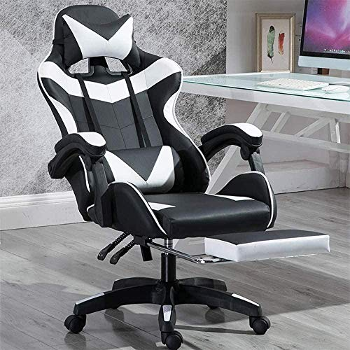 Gaming Chair Verstellbare Arme Reclining Drehstuhl Computer-Fußrasten Play Games Videos anschauen Sessel (Color : Nylon Chair Legs)
