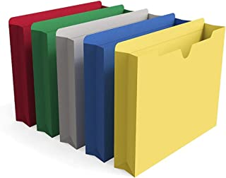1InTheOffice File Jackets Letter Size 2 inch Expansion, Expandable File Folder, Assorted Colors, 10 Pack