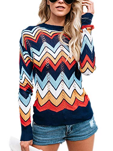 YOSICIL Damen Pullover Streifen Strickpullover Unregelmäßig Bunt Strick Pulli Langarm Casual Sweatshirt Fit Frauen Oberteile Tops Herbst Winter