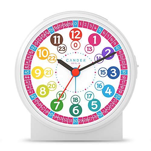 Cander Berlin MNU 1009 P kinderwekker wekker kinderen geruisloos pink roze geruisloos educatief horloge kinderhorloge licht snooze tafelklok verlichting geluidsarm sluimer