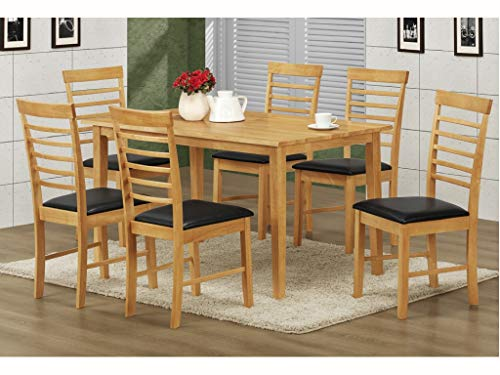 The One - Juego de comedor rectangular con acabado de roble, mesa de comedor de madera dura con 6 sillas acolchadas de piel sintética negra, muebles de comedor