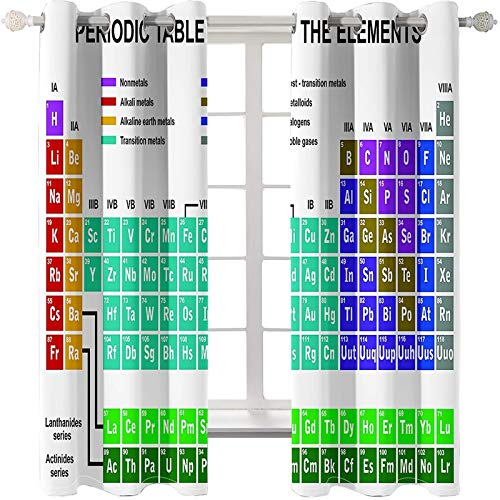 AMDXD 2 Paneles Cortina Poliester Opaca, Cortinas de Ventanas de Salon Tabla Periódica de Elementos Químicos Cortinas Decoradas, Verde Azul Blanco, 214x115CM