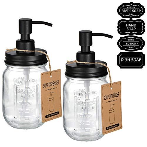 Amolliar Mason Jar Liquid Soap Dospenser -Rustproof Stainless Steel Replacement - Farmhouse Decor for Kitchen/Bathroom,Liquid Soap Pumps for Hand Soap,Dish Soap,Lotions/Black-2 Pack