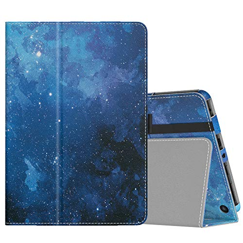 MoKo Case Compatible with All-New Kindle Fire HD 8 Tablet and Fire HD 8 Plus Tablet (10th Generation, 2020 Release), Slim Folding Stand Cover with Auto Wake Sleep - Blue Sky Star