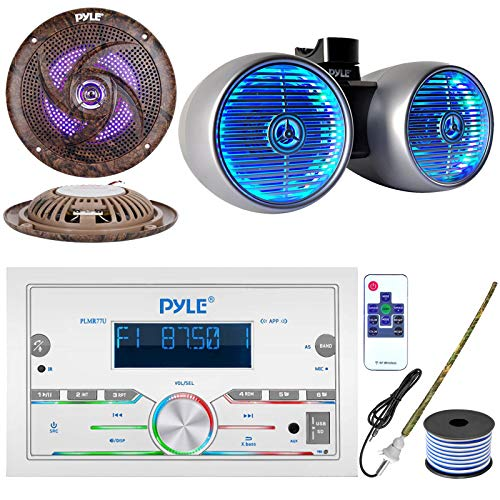 Pyle Double DIN AM FM Stereo USB AUX Bluetooth Marine Power Receiver Bundle Combo with 6.5  400W Wakeboard Silver Marine LED Speakers, 2X 6.5   Low Profile Camo LED Speakers, Antenna, 18 Gauge Wire