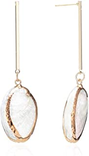 Shell Conch 18K Gold Plated Bar Earrings-Sterling Silver Earring Post Earrings,Great Gift for Women on Valentine's Day