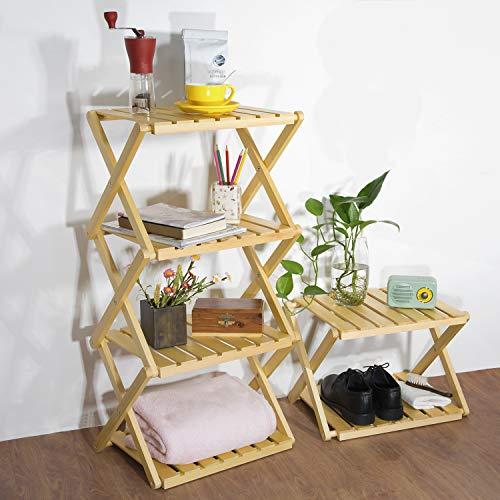 RooLee® 収納棚 キャンプ用品 折り畳み式木製ラック 木製4段ラック 天然木 12ヶ月保証期間
