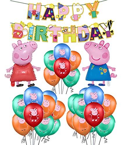 Decoracion Cumpleaños Peppa Pig Globos Pancarta de Feliz Cumpleaños George Pig Globos de Aluminio para Niños Decoraciones de Fiesta Cumpleaños
