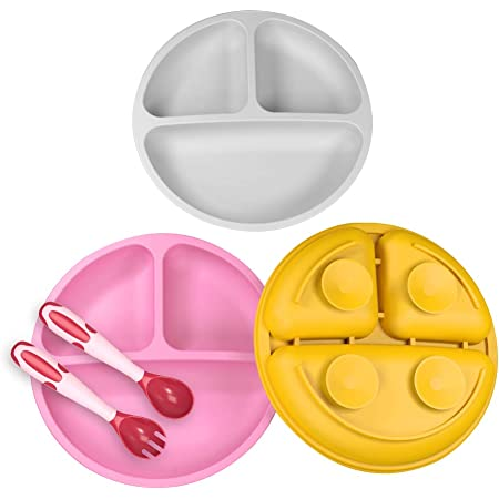 3 Pack Safe Silicone Baby Suction Plates - Toddler Divided Plate Set with Spoon Fork, Dishwasher and Microwave Safe (Gray, Pink & Orange)