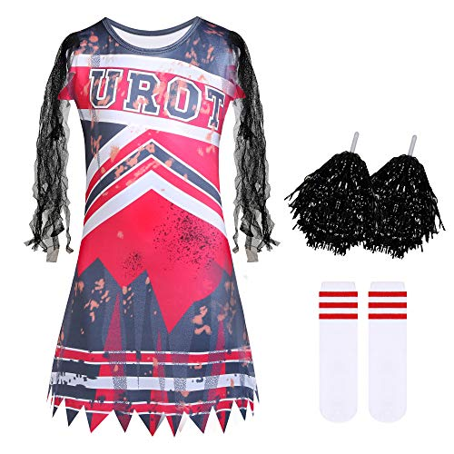 Niñas Zombie Cheerleader Party Dress up Gothic Zombies Fancy Dress School Cheer Uniform con Pom Poms