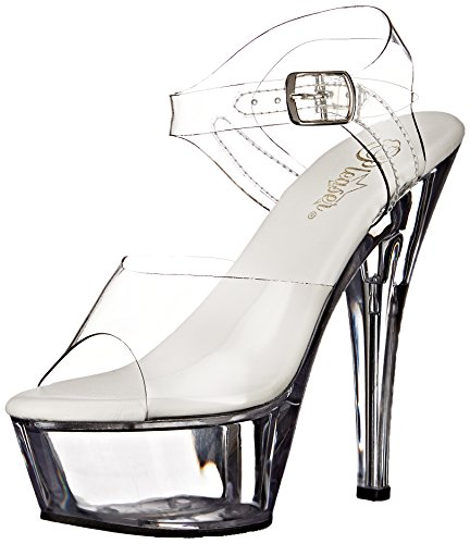 Pleaser Women's KISS208VL/C/M Platform Dress Sandal, Clear Clear, 5
