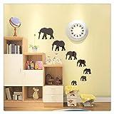 7 Elefantes Espejo Pegatinas Decorativas Decoración de Pared Espejo de Pared,Negro,1 Set