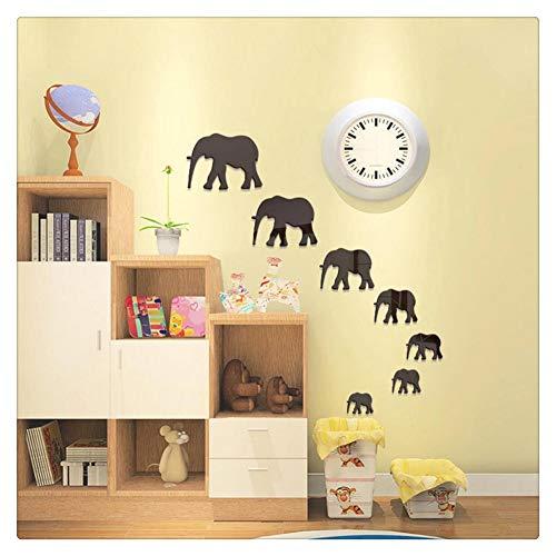 HONGBI 7 Elefantes Espejo Pegatinas Decorativas Decoración de Pared Espejo de Pared,Negro,1 Set