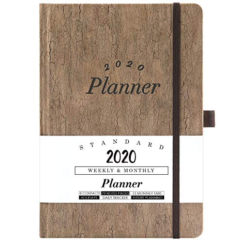 """2019-2020 Academic Planner - Weekly & Monthly Planner with Tabs + Cork Smooth Leather with Pen Holder and Thick Paper, Back Pocket with 79 Notes Pages + Gift Box - 5.75"""" x 8.25"""""""