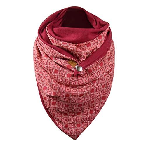 URIBAKY - Pañuelo para mujer, color liso, de algodón para mujer, diseño de lunares, estampado con botón suave, informal, bufandas cálidas, chales Multicolor. Talla única