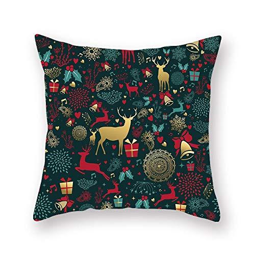 Hugyou Funda de almohada de Navidad con diseño de alce de personalidad, funda de almohada con reposacabezas para accesorios de decoración